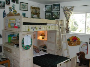 Charlie's (up) and Alex's (down) beds in their shared bedroom in 2003.