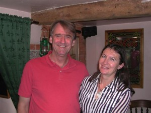 In an English pub during our summer holiday in 2007. Ron Warrington took this one.
