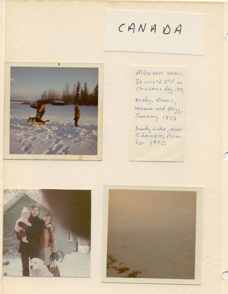 "The first page with a ""Canada"" theme in that first 1979 photo album: memories of my time in Canada in 1971-2 were still strong."