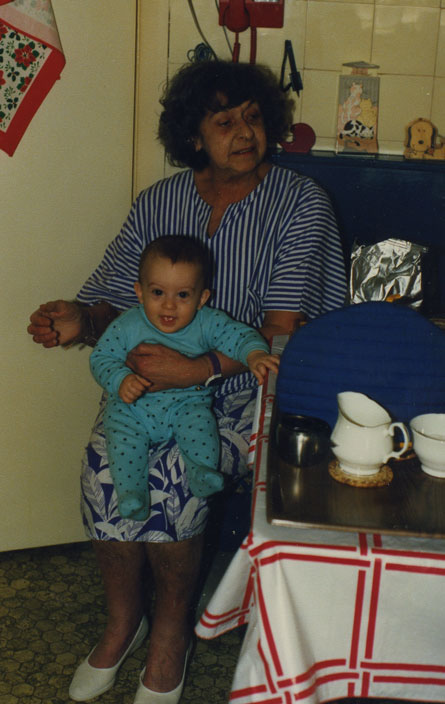 Tom squirming on his grandma's lap at the kitchen table in South View Road during a visit early in 1990. Sitting still was never his thing!