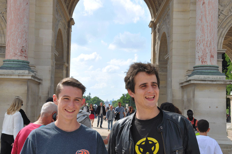 Alex and Tom during our guided tour of the sights of Paris. According to Tom, through the arch and in alignment are the obelisk at Concorde, the Arc de Triomphe and the Grande Arche de la Défense. We are standing here at the boundary between thee Jardin des Tuiléries and the Louvre