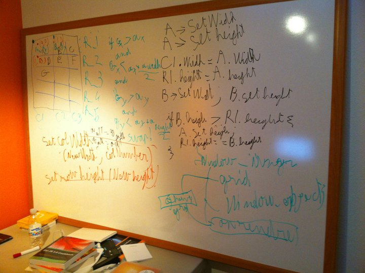 Found this one on Nick's FaceBook page: one of the tools of his trade, a whiteboard.