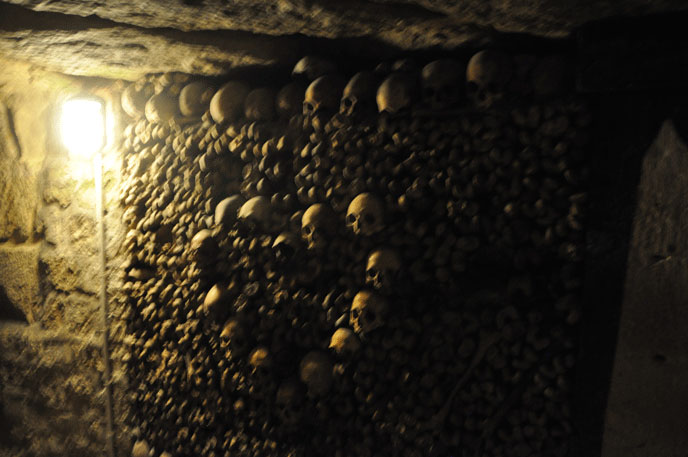 Paris has the last word, a collection of real human skulls placed in the shape of a heart in the catacombs under Denfert.