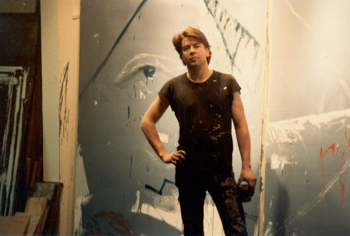John standing in front of one of his paintings, back in his loft in Oakland. It was late 1982 or early 1983. We would hang till the early hours.