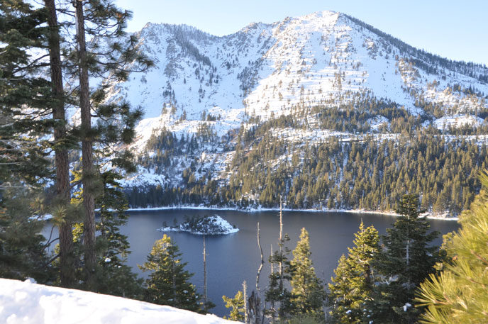Why Lake Tahoe? Here's why, Emerald Bay on a snowy sunny day.