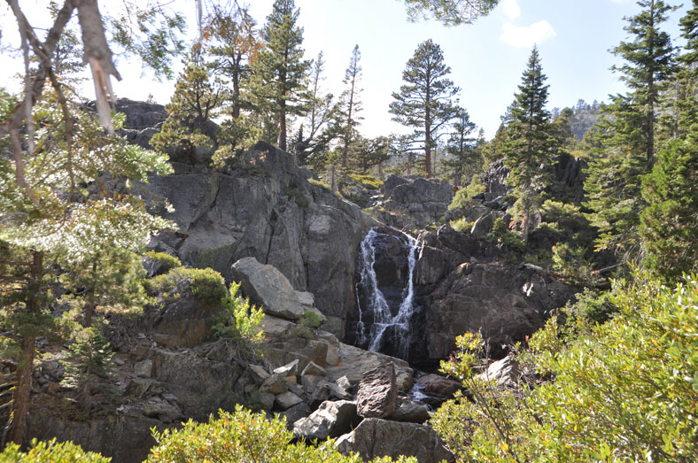 Further down the mountain, the terrain includes the occasional waterfall.