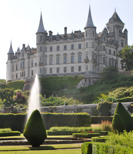 Dunrobin Castle, ancestral home of the Dukes of Sutherland, with its own train station on the line from Inverness to Wick and Thurso. My kind of castle!