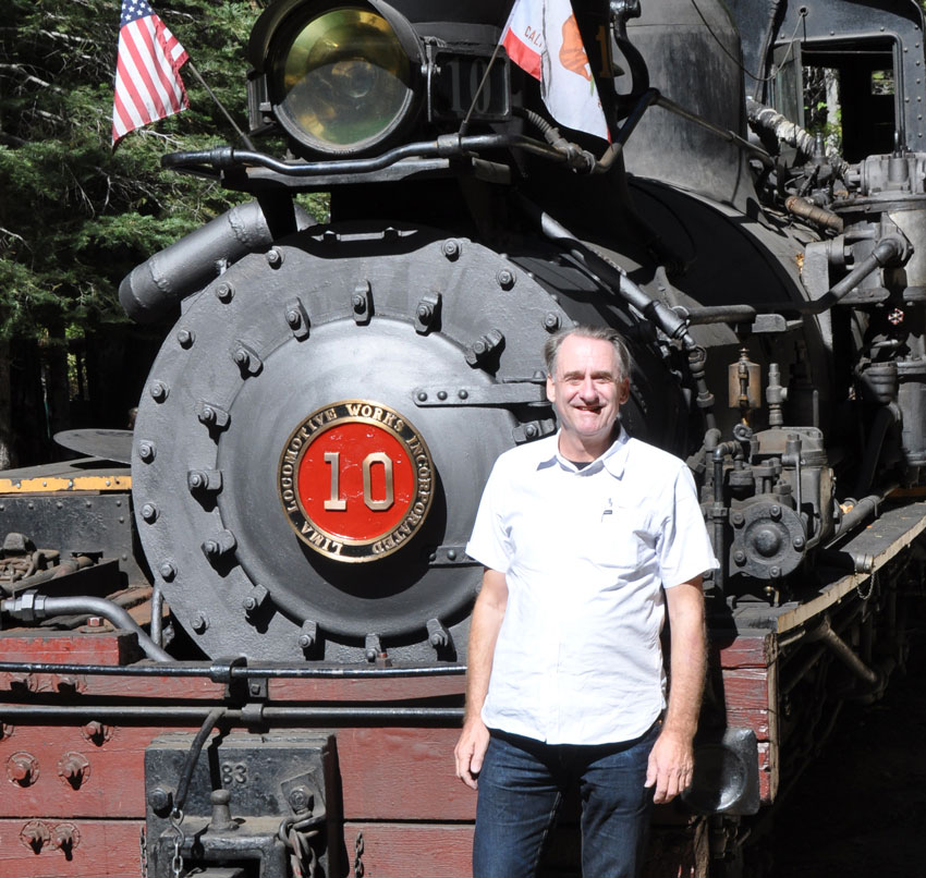 One of my hobbies, steam locomotives. This one hauls a replica logging train through the Sierra Nevada near Yosemite.