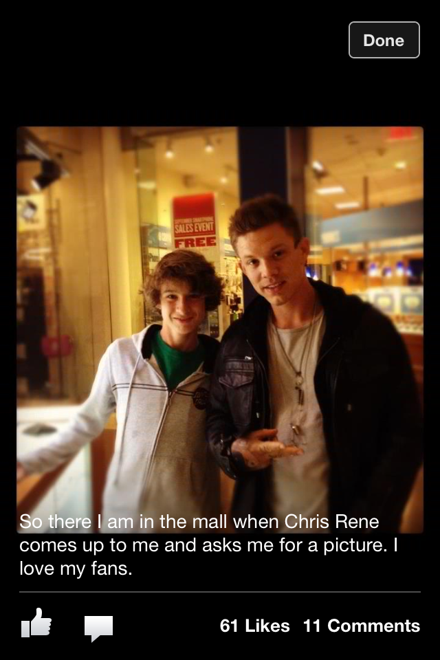 Chris Rene is a local celebrity, having placed third in X-Factor, Simon Cowell's new TV show. Alex ran across him in the local mall, and posted this on FaceBook with his own caption.