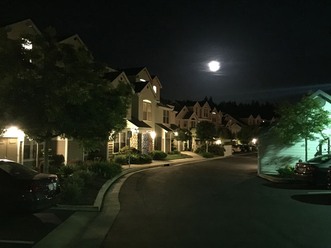 Our condo complex in Scotts Valley under a full moon.