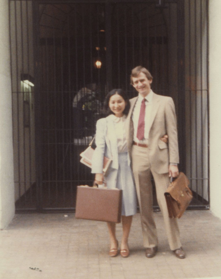"With Meri outside our Village apartment that summer of 1981. On the back of the photo, she wrote that we were ""off to conquer the world of law from the iron-gated entry of their Village apartment building."""